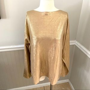 Lauren Ralph Lauren gold shiny sweater XL